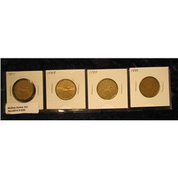 """932. Complete Set of 1987-1990 Canada """"Loonie"""" Dollar Coins. All in holders and partial plastic page"""