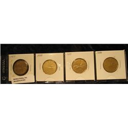 """933. Complete Set of 1987-1990 Canada """"Loonie"""" Dollar Coins. All in holders and partial plastic page"""