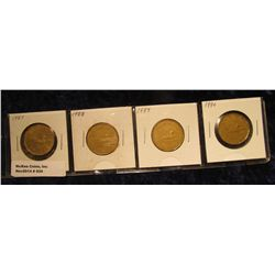"""934. Complete Set of 1987-1990 Canada """"Loonie"""" Dollar Coins. All in holders and partial plastic page"""