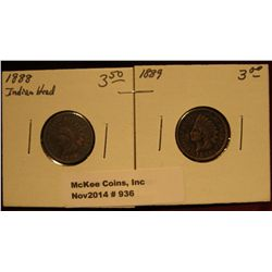936. 1888 & 89 U.S. Indian Head Cents. G-4.