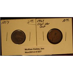 937. 1859 & 1864  U.S. Indian Head Cents. G-4.