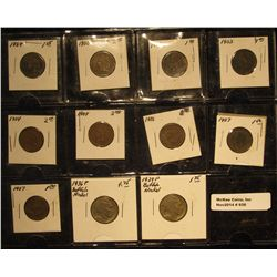 938. (9) U.S. Indian Head Cents 1888-1907 G-4; & 1929 P & 36 P Buffalo Nickels G-VG in a plastic pag