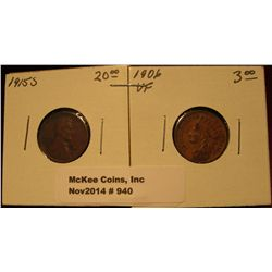 940. 1906 Indian Head Cent VF & 1915 S Lincoln Cent  with reverse tarnish. (exceptionally scarce key