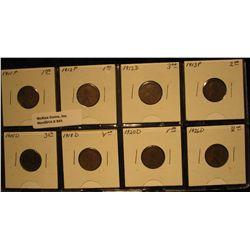 941. 1911P, 12P, D, 13P, 15D, 18D, 20D, & 26D Lincoln Cents in a partial Plastic page. Average circu