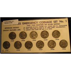 950. Complete 11-Piece Set of United States Emergency 1942-45 Wartime or Silver Nickels. Circulated.