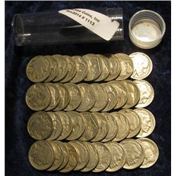1113. Solid Date Roll of Pre 1939 U.S. Buffalo Nickels with Indian Heads. (40 pcs.).