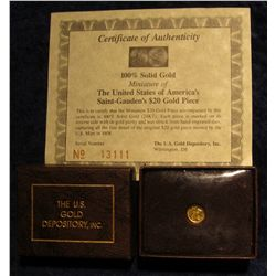 1119. 100% Solid Gold Miniature of the United States of America's Saint Gauden's $20 Gold Piece in b