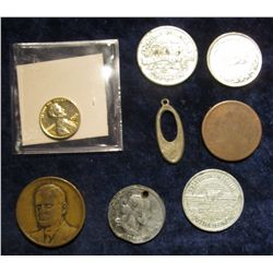 1131. 1975 P Gold-plated Cent; unidentified Bronze Portrait Medal; Old U.S. Large Cent; & (5) Variou