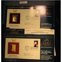 1145. Genunine 22Kt. Gold replica on a 1732-1982 George Washington .20 U.S.A. Stamp with original li