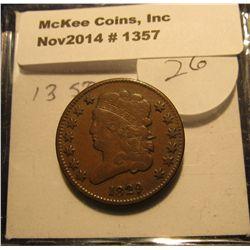 1357. 1829 U.S. Half Cent. 13 Stars. EF. Bid is $150.00.