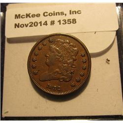 1358. 1832 U.S. Half Cent. MS 60. Brown. Mtg. 151,000. MS 60 bid is $325.00.