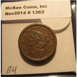 1363. 1853 U.S. Half Cent. Unc. Red book value $225.00.