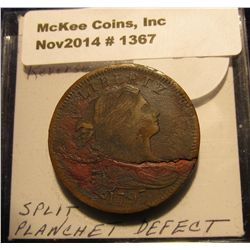 1367. 1797 U.S. Large Cent. Stems. Reverse if 97. Split planchet Mint error. Redbook in G-4 is $100.