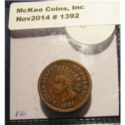 1392. 1881 Indian head Cent. F-12.