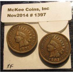 1397. 1901 & 1902 Indian Head Cents. Both full Liberties.