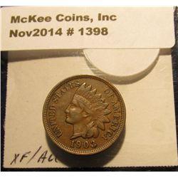 1398. 1903 Indian Head Cent. Brown AU.