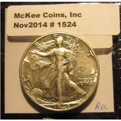 1524. 1940 P Walking Liberty Half Dollar. AU.
