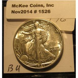1526. 1941 D Walking Liberty Half Dollar. AU-BU..
