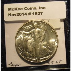 1527. 1942 P Walking Liberty Half Dollar. MS 65.