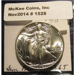 1528. 1943 P Walking Liberty Half Dollar. MS 65.
