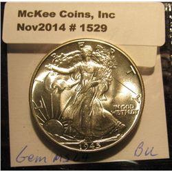 1529. 1945 P Walking Liberty Half Dollar. BU.