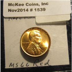 1539. 1929 P Lincoln Cent. Brilliant Full Red MS 66. Book value $270.00