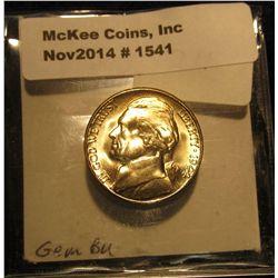 1541. 1944 S U.S. Silver World War II Jefferson Nickel. Gem BU. Book value $25.00.