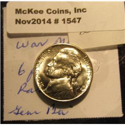 1547. 1943 D U.S. Silver World War II Jefferson Nickel. Six full steps. Gem BU. Book value $50.00.