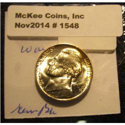 1548. 1944 P U.S. Silver World War II Jefferson Nickel. Full steps. Gem BU. Book value $75.00.