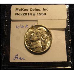 1550. 1945 P U.S. Silver World War II Jefferson Nickel. Gem BU. Book value $28.00.