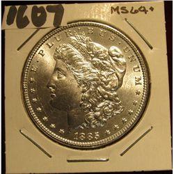 1607. 1885 P Morgan Silver Dollar. MS 64+.