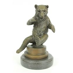 "9""x6"" Signed Happy Bear Bronze Sculpture Figure By Lecourtier Statue Figurine   7 LBS."