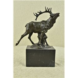 "10.5""x10"" Original Signed Male Deer In Forest Stag Statue   9 LBS."