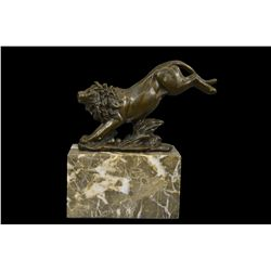 "7""x7"" Hot Cast Jumping Lion by Barye French Animal Artist Bronze Sculpture Figurine   7 LBS."