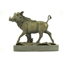 "9""x11"" Signed Barye Wild Boar Animal Mascot Bronze Sculpture On Marble Base Figurine   10 LBS."