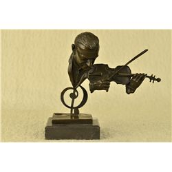 "9""x10"" Signed Milo Abstract Man Playing Violin Bronze Bust Sculpture Marble Statue   5 LBS."