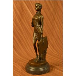 "12""x5"" Signed Fisher Business Woman Bronze Sculpture Office Deco Statue Hand Made Decor   7 LBS."