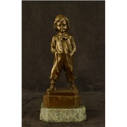 "13""x6"" Bronze Collector Edition Buhner Signed Art Sculpture Young School Boy Statue   9 LBS."