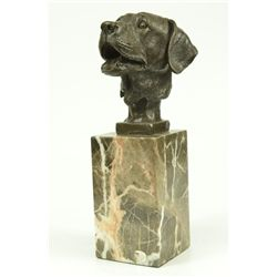 "9.5""x5"" Signed Original Happy Labrador Puppy Dog Bust Marble Base Sculpture Statue Decor   6 LBS."