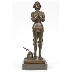 "13""x5"" Signed Bronze Statue Joan Of Arc Saint French Heroine   8 LBS."