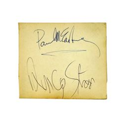 Paul McCartney/Ringo Starr Rare Combination Autograph On One Page From 11/20/1963 Concert Manchester