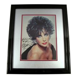 Elizabeth Taylor Large Color Signed Matted & Framed Photo