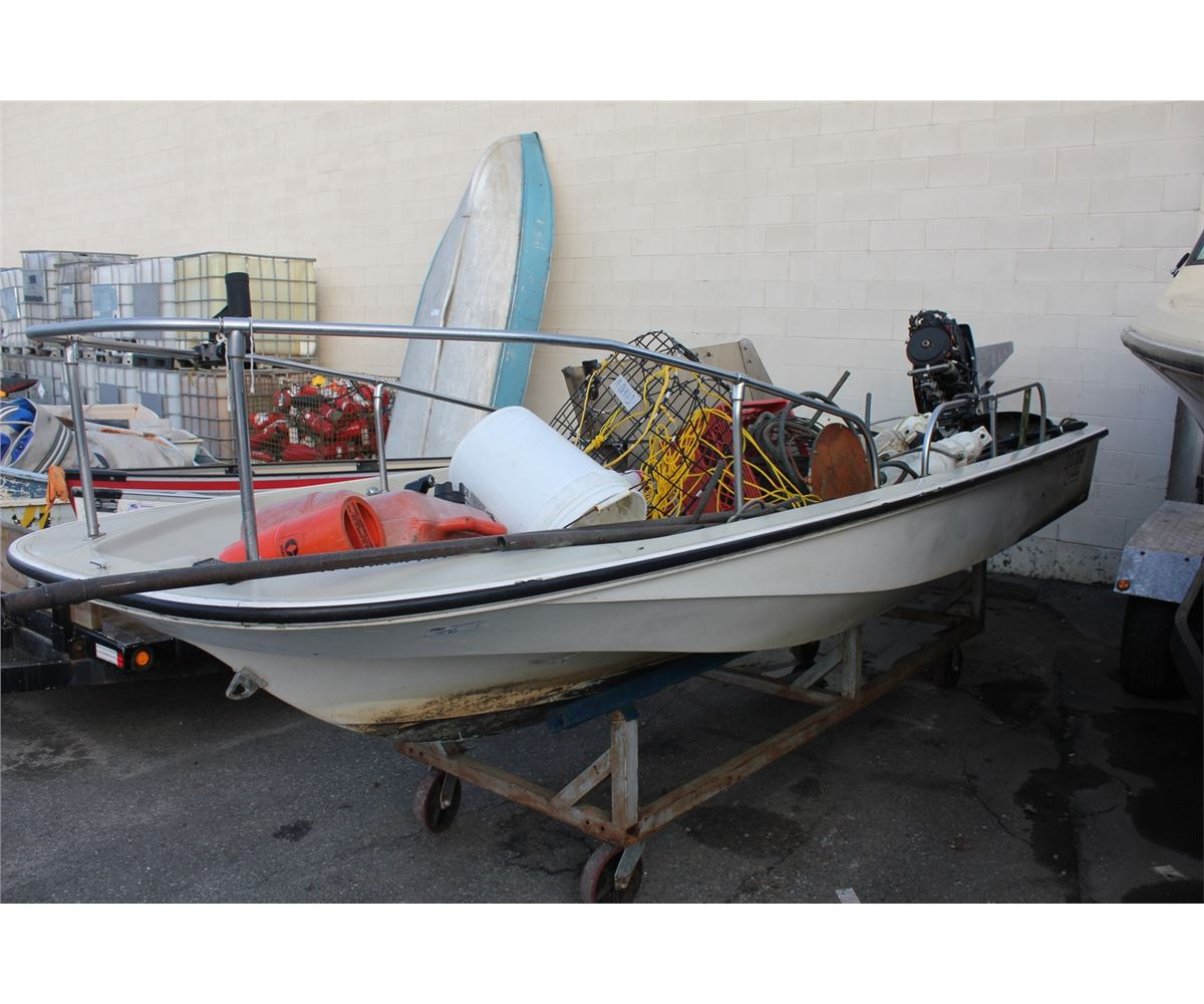 boston whaler & contents including: johnson 60hp outboard motor