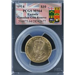 Canada 1914 Ten Dollar PCGS MS 64, includes certificate and mint issue box