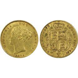 Australia 1872 S ½ Sovereign AU Details