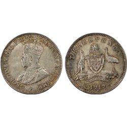 Australia 3 Pence 1919 PCGS MS 65