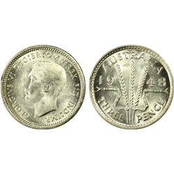 Australia 3 Pence 1948 PCGS MS 65