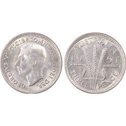 Australia 3 Pence 1951 M, PCGS MS 64