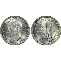 Australia 3 Pence 1951 PL PCGS MS 66
