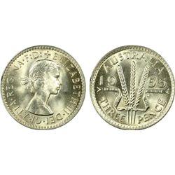 Australia 3 Pence 1955 PCGS MS 66